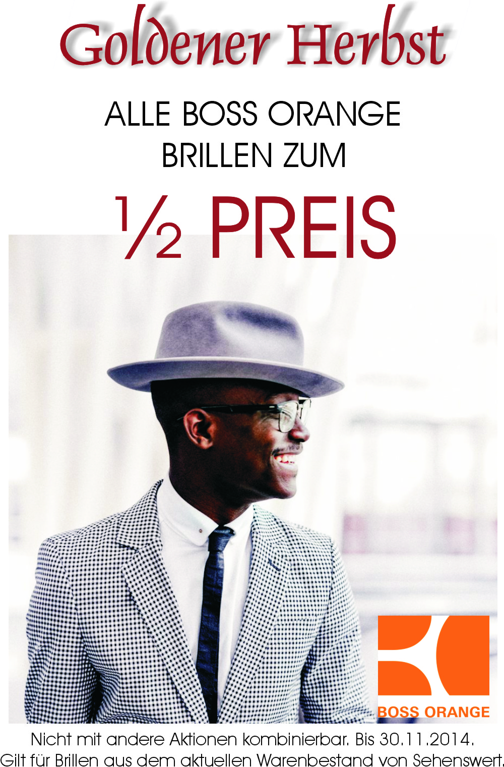 Herbstaktion 50% auf alle BOSS ORANGE Brillen